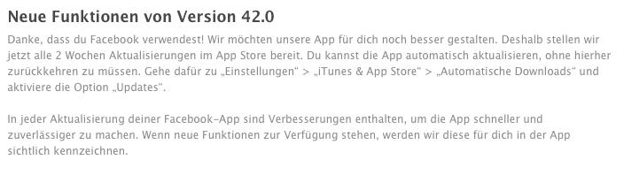 Facebook iOS-App Update 42.0