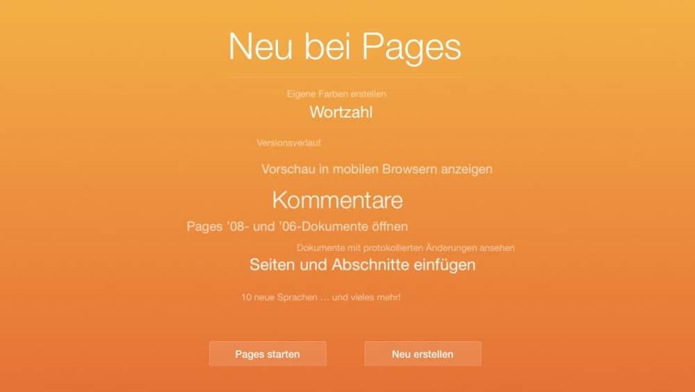 iWork für iCloud Updates