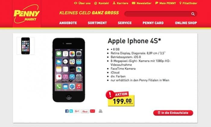 Penny österreich Verkauft Iphone 4s Für 199 Euro Apfeltalk Magazin