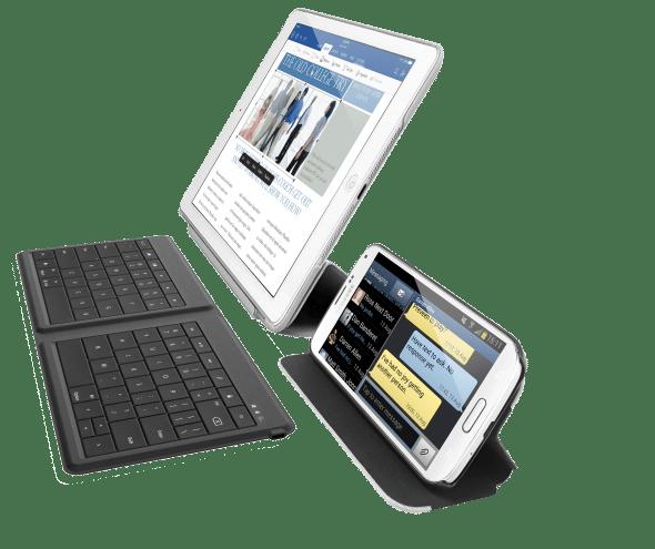 Das Universal Foldable Keyboard kann mit zwei Geräten gleichzeitig gekoppelt werden.