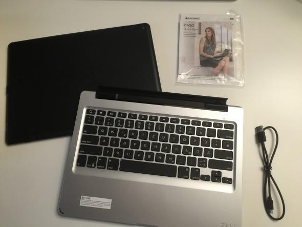 Zum Lieferumfang gehört neben das Tatstatur auch eine passende Hülle fürs iPad pro.