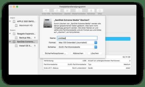 Der USB-Stick für die Bootbare Installation von El Capitan muss vorher gelöscht werden.