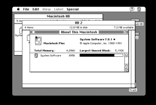 Apples System 7 auf einem Macintosh-Computer