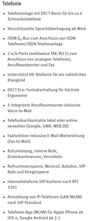 7590 technische Daten Telefonie