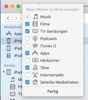 Apps im Menü auswählen