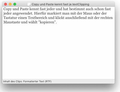Inhalt geöffnete Clipping-Datei