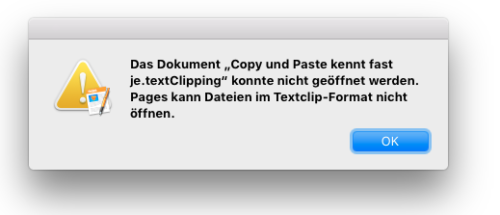 Fehler beim Öffnen einer Clipping Datei mit Pages
