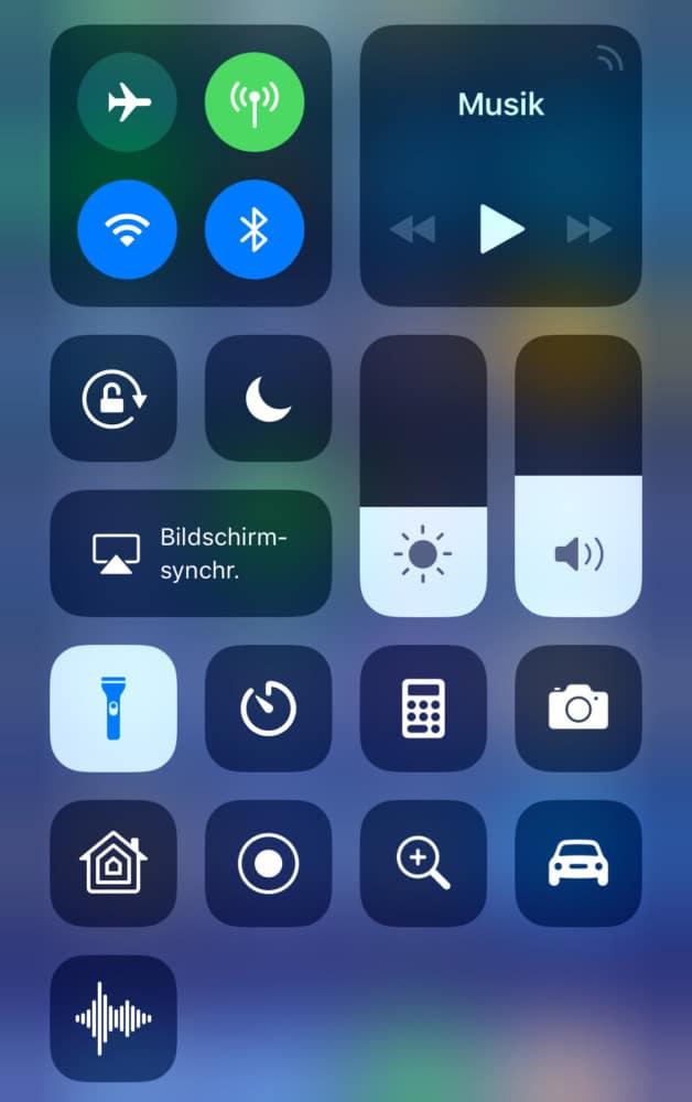 Iphone  Taschenlampe