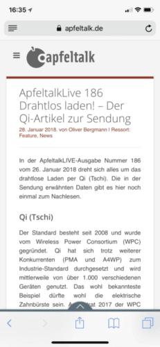 Apfeltalk-Homepage Artikel