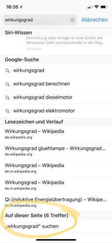 Vorschlagsliste Suche Safari