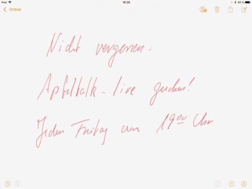 iPad Notiz Apfeltalk live