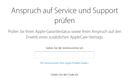 Apple Anspruch auf Service und Support prüfen