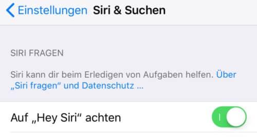 Hey Siri deaktivieren