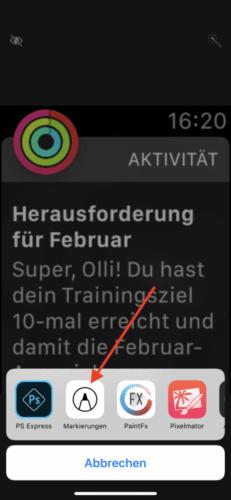"""Apple Watch Screenshot """"Markierungen"""""""
