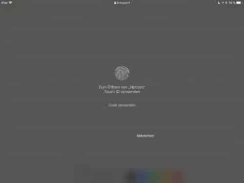 iPad Notiz TouchID Abfrage