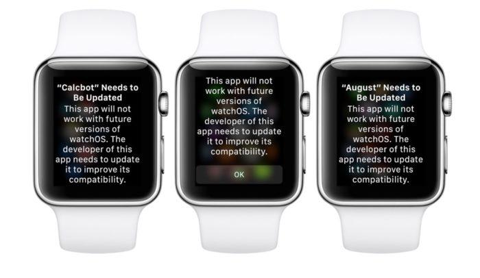 watchOS Apps Hinweismeldung