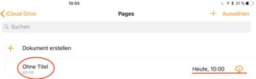 Handoff - Pages - Dokument auswählen