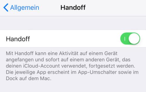 Handoff aktivieren iOS