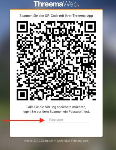 Threema Web QR und Passwort