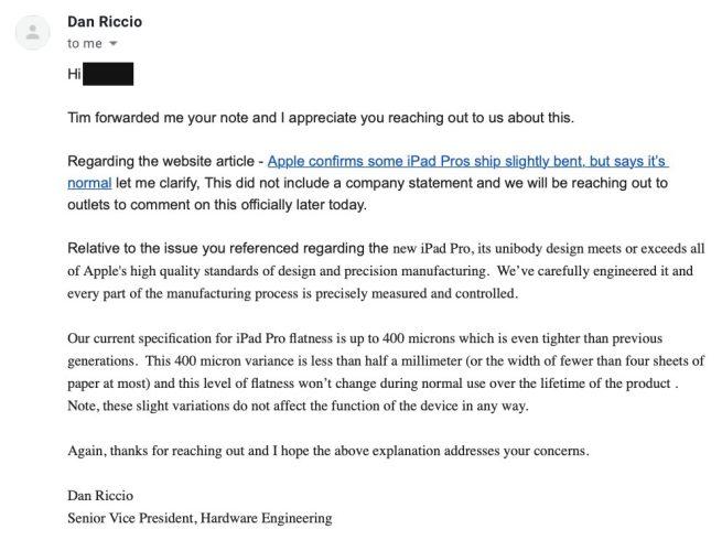 iPad Pro E-Mail Dan Riccio
