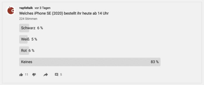 Screenshot einer Umfrage zum neuen iPhone bei Youtube.