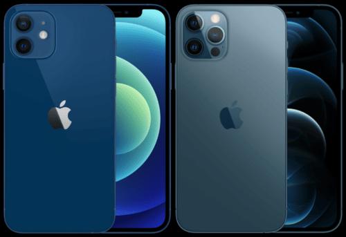 Blau: iPhone 12 (links) und iPhone 12 Pro (rechts)
