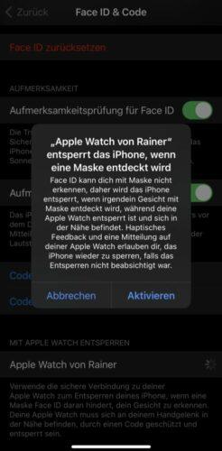 iPhone per Apple Watch entsperren